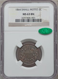 Two Cent Pieces, 1864 2C Small Motto MS63 Brown NGC. CAC. FS-401....