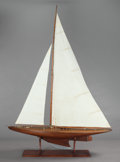 Maritime:Decorative Art, A CARVED WOOD SAILBOAT SHIP MODEL ON STAND. 20th century. 87-1/4 x64 x 13 inches (221.6 x 162.6 x 33.0 cm). Property ...