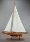 Maritime:Decorative Art, A CARVED WOOD SAILBOAT SHIP MODEL ON STAND. 20th century. 72 x50-1/4 x 11 inches (182.9 x 127.6 x 27.9 cm). Property From...