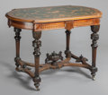 Furniture , A VICTORIAN MAHOGANY AND FRUITWOOD INLAID CENTER TABLE . 19th century. 30-1/2 x 44-1/4 x 27-5/8 inches (77.5 x 112.4 x 70.2 ...