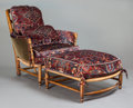 Furniture : American, AN EDWARDIAN-STYLE POPLAR UPHOLSTERED ARM CHAIR AND OTTOMAN. 20th century. 37-1/2 x 35 x 38 inches (95.3 x 88.9 x 96.5 cm) (... (Total: 2 Items)