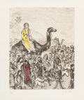 Fine Art - Work on Paper:Print, MARC CHAGALL (Belorussian, 1887-1985). Depart de Jacob pourl'Egypte, circa 1931-39. Hand-colored etching. 11-5/8 x 9-1/...