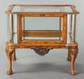 Furniture : French, AN ENGLISH CHIPPENDALE-STYLE BURLWOOD, MAHOGANY AND GLASS VITRINETABLE. First quarter 20th century. 28-1/2 x 24 x 32-1/2 in...