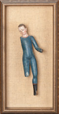Fine Art - Sculpture, European:Antique (Pre 1900), SPANISH SCHOOL (20th Century). Polychrome carved woodfigure. Painted wood. 7-1/2 x 2-1/4 x 1 inches (19.1 x 5.7 x2.5 c...