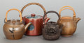 Asian, THREE ASIAN-STYLE EARTHENWARE TEA POTS AND A CAST IRON TEA POT.20th century. 6-1/2 inches high (16.5 cm) (tallest, handle d...(Total: 4 Items)