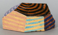 JUN KANEKO (Japanese, b. 1942) Untitled (Striped Lozenge), 1989 Hand-built glazed ceramic 5-1/2 x