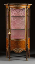Furniture , A LOUIS XV-STYLE VENEERED GILT BRONZE MOUNTED VITRINE CABINET WITH MARBLE TOP. Circa 1900. 60-1/4 x 29 x 16-1/2 inches (153....
