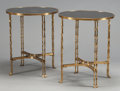 Furniture : French, A PAIR OF NEOCLASSICAL-STYLE GILT BRONZE SIDE TABLES WITHBAMBOO-FORM LEGS AND BLACK GRANITE TOPS . Second half 20thcentury... (Total: 2 Items)