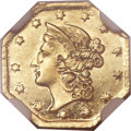 California Fractional Gold, Undated $1 Liberty Octagonal 1 Dollar, BG-501, Low R.5, MS61NGC....