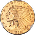 Indian Quarter Eagles, 1911 $2 1/2 MS65 NGC....