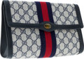 Luxury Accessories:Accessories, Gucci Navy Blue Classic Monogram Canvas Pouch Clutch Bag with WebStripe. ...