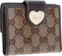 Gucci Brown Classic Monogram Canvas Bifold Wallet with Heart Closure