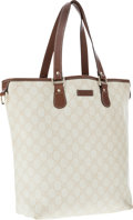 Luxury Accessories:Bags, Gucci Eggshell Monogrammed Coated Canvas Tote Bag. ...