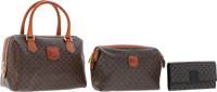 Celine Set of Three; Brown Monogrammed Canvas Shoulder Bag, Monogrammed Canvas Pouch & Black Monogram Canvas Wallet