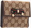 Luxury Accessories:Accessories, Gucci Classic Monogram Canvas Wallet with Web Stripe Bow. ...