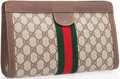 Luxury Accessories:Bags, Gucci Beige Classic Monogram Waxed Canvas Pouch Bag with ClassicWeb Stripe. ...
