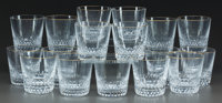 A SET OF SEVENTEEN ST. LOUIS GLASS APOLLO PATTERN WHISKEY TUMBLERS IN ORIGINAL BOX