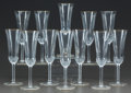 Art Glass:Other , A SET OF TWELVE ST. LOUIS GLASS APOLLO PATTERN CHAMPAGNESTEMS. 21st century. Marks: acid etched hallmark. 7-1/2... (Total:12 Items)