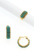 Estate Jewelry:Suites, Turquoise, Gold Petit Point Jewelry Suite, Christine Eustace, Zuni.... (Total: 2 Items)