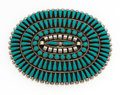 Estate Jewelry:Brooches - Pins, Turquoise, Sterling Silver Petit Point Brooch, A & V Ned,Navajo. ...