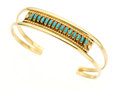 Estate Jewelry:Bracelets, Turquoise, Gold Petit Point Bracelet, Zuni. ...