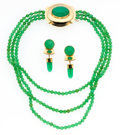 Estate Jewelry:Suites, Chrysoprase, Gold Jewelry Suite, Charlotte Quinn. ... (Total: 2Pieces)