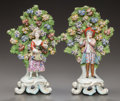 Ceramics & Porcelain, British:Antique  (Pre 1900), A PAIR OF CHELSEA-STYLE ENGLISH PORCELAIN BOCAGE FIGURAL GROUPS . 19th Century. Marks: (gold anchor), 4. 10-1/4 inches h... (Total: 2 Items)