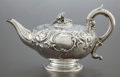 Silver Holloware, British:Holloware, A THOMAS BURWASH GEORGE IV SILVER TEA POT . Thomas Burwash, London,England, circa 1822-1823. Marks: (lion passant), (leopar...