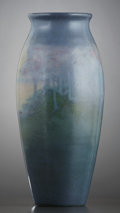 Ceramics & Porcelain, American:Modern  (1900 1949)  , A ROOKWOOD POTTERY VELLUM GLAZE SCENIC VASE DECORATED BY SALLIE COYN. Decorated by Sara Elizabeth (Sallie) Coyne (1876-1939)...