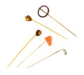 Estate Jewelry:Stick Pins and Hat Pins, Multi-Stone, Gold Stick Pins. ... (Total: 5 Items)