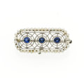 Estate Jewelry:Brooches - Pins, Sapphire, Seed Pearl, Platinum Brooch. ...