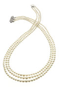 Estate Jewelry:Pearls, Freshwater Cultured Pearl, White Gold Necklace. ...
