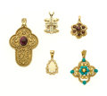 Estate Jewelry:Pendants and Lockets, Multi-Stone, Gold Pendant Lot. ... (Total: 5 Items)