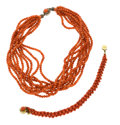 Estate Jewelry:Suites, Coral, Silver and Gold Gilt Suite. ... (Total: 2 Items)