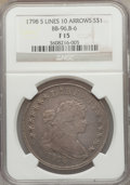 Early Dollars, 1798 $1 Large Eagle, Knob 9, 5 Vertical Lines, 10 Arrows Fine 15NGC. B-6, BB-96, R.3....