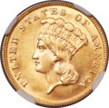 Three Dollar Gold Pieces, 1887 $3 MS65 NGC....