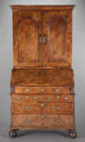 Furniture : English, A GEORGE III BURL WALNUT SECRETARY DESK AND BOOKCASE. Circa 1800. 81 x 40-3/4 x 23-3/4 inches (205.7 x 103.5 x 60.3 cm). P... (Total: 2 Items)