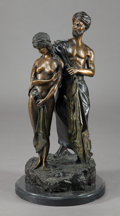 Bronze:European, A CONTINENTAL PATINATED BRONZE FIGURAL GROUP . First half 20thcentury. Marks: (illegible signature). 27-3/4 inches high x 1...