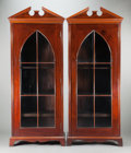 Furniture , A PAIR OF ENGLISH MAHOGANY PEDIMENTED BOOKCASES . 20th century. 83 x 31-1/4 x 12 inches (210.8 x 79.4 x 30.5 cm). Estate o... (Total: 2 Items)