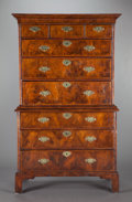 Furniture , A GEORGE III-STYLE BURL MAHOGANY HIGH CHEST OF DRAWERS. Circa 1900. 95-1/2 x 55 x 22 inches (242.6 x 139.7 x 55.9 cm). Pro...