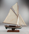 Maritime:Decorative Art, A CARVED WOOD SAILBOAT SHIP MODEL ON STAND. 20th century. 39 x 32 x8 inches (99.1 x 81.3 x 20.3 cm). Property From a Jack...
