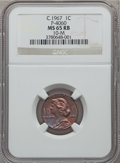 (circa 1967) General Motors Cent, Pollock-4060, R.5, MS65 Red and Brown NGC. Control Code 10-M....(PCGS# 62401)
