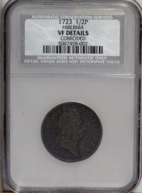 1723 1/2P Hibernia Halfpenny--Corroded--NCS. VF Details. NGC Census: (0/0). PCGS Population (12/324). (#180)...(PCGS# 18...