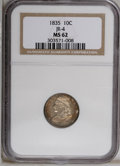 Bust Dimes: , 1835 10C MS62 NGC. JR-4, R.2. Lustrous with rich reddish-goldpatina on the obverse that is restricted to the periphery on ...