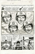 "Original Comic Art:Splash Pages, Joe Kubert - All-American Men of War #39, Splash Page 1 OriginalArt (DC, 1956). Bill Finger wrote ""The Four Faces of Sgt. F..."
