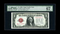 Fr. 1500 $1 1928 Legal Tender Note. PMG Superb Gem Unc 67 EPQ. Wide margins on this well preserved beauty reveal the cen...