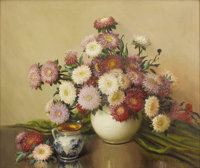 A. D. GREER (1904-1998) Still Life with Asters Oil on canvas 25in. x 30in. Signed lower right  Besides landscapes