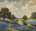 Texas:Early Texas Art - Impressionists, DOLLIE NABINGER (1905-1988). Untitled Bluebonnet Landscape. Oil oncanvas. 25in. x 30in.. Signed lower right. An outstandi...