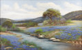 Texas:Early Texas Art - Impressionists, PEDRO LAZCANO (1909-1970). Untitled Bluebonnets with Boy Fishing.Oil on canvas. 26in. x 42in.. Signed lower left. Pedro L...