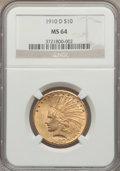 Indian Eagles, 1910-D $10 MS64 NGC....